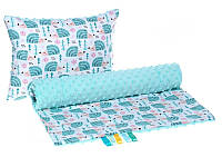 Комплект в детскую коляску BabySoon Мятные ежики одеяло 75 х 78 см подушка 30 х 40 см мятный (298)