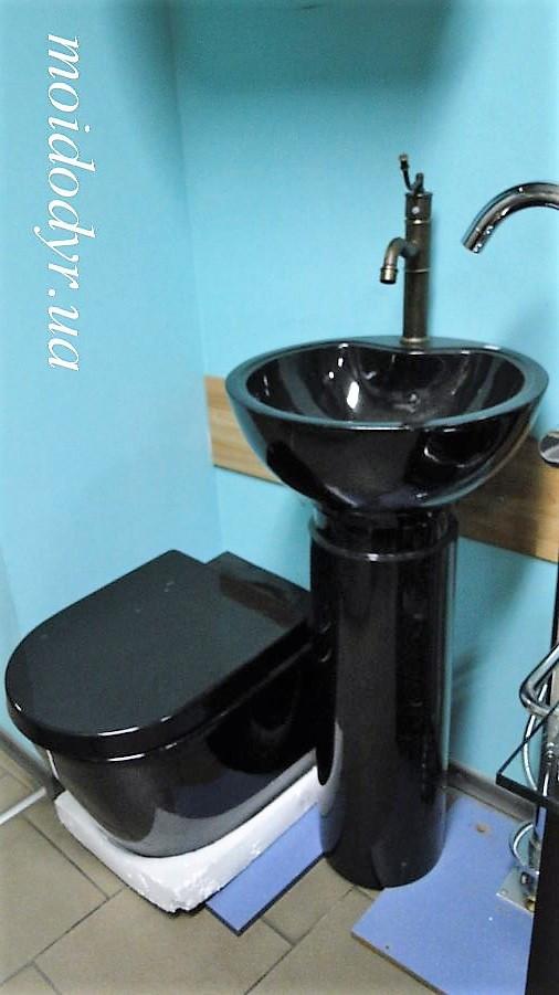 Унитаз подвесной керамический MD с крышкой (черный)