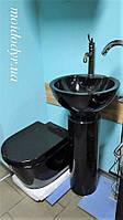 Унитаз подвесной керамический MD с крышкой (черный), фото 1