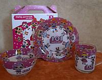 """Стеклянный набор детской посуды с любимыми героями № 2  """" Куклы L.O.L. ( ЛОЛ ) """""""