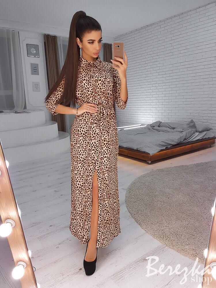 Длинное леопардовое платье - рубашка с разрезом 66ty2425