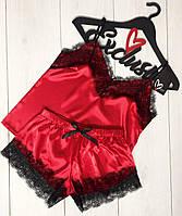 Красная атласная пижама с  кружевом ТМ Exclusive, пижамы женские.