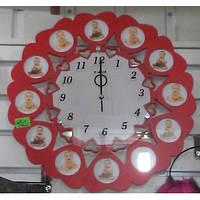 Часы настенные с фоторамкой на 12 фото