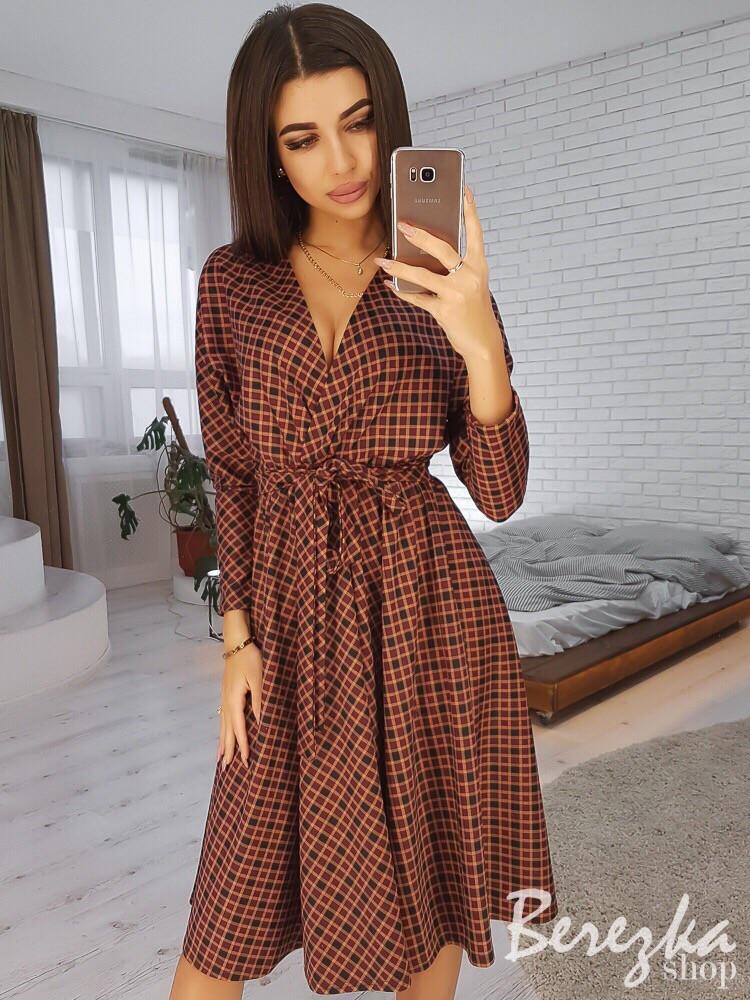 Платье на запах миди с пышной юбкой 66ty2429