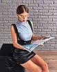 Кожаная юбка-карандаш с подтяжками 73wa183, фото 2