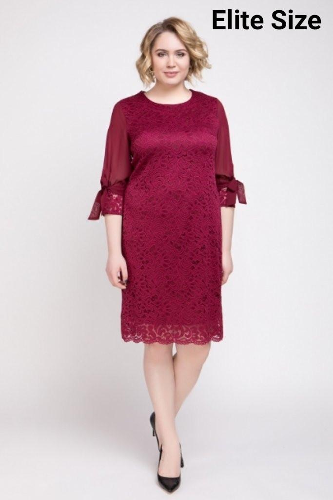 Гипюровое платье с шифоновыми рукавами в больших размерах 6uk1423