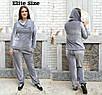 Женский велюровый спортивный костюм в больших размерах 6uk1427, фото 2