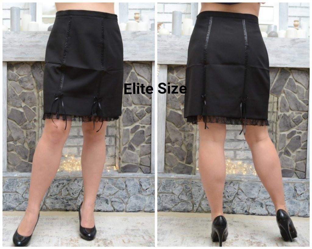 Черная женская классическая юбка в больших размерах 6uk1441
