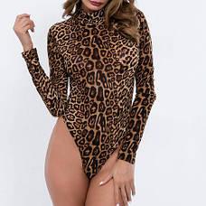Боди леопардовое на длинный рукав -172-02, фото 3