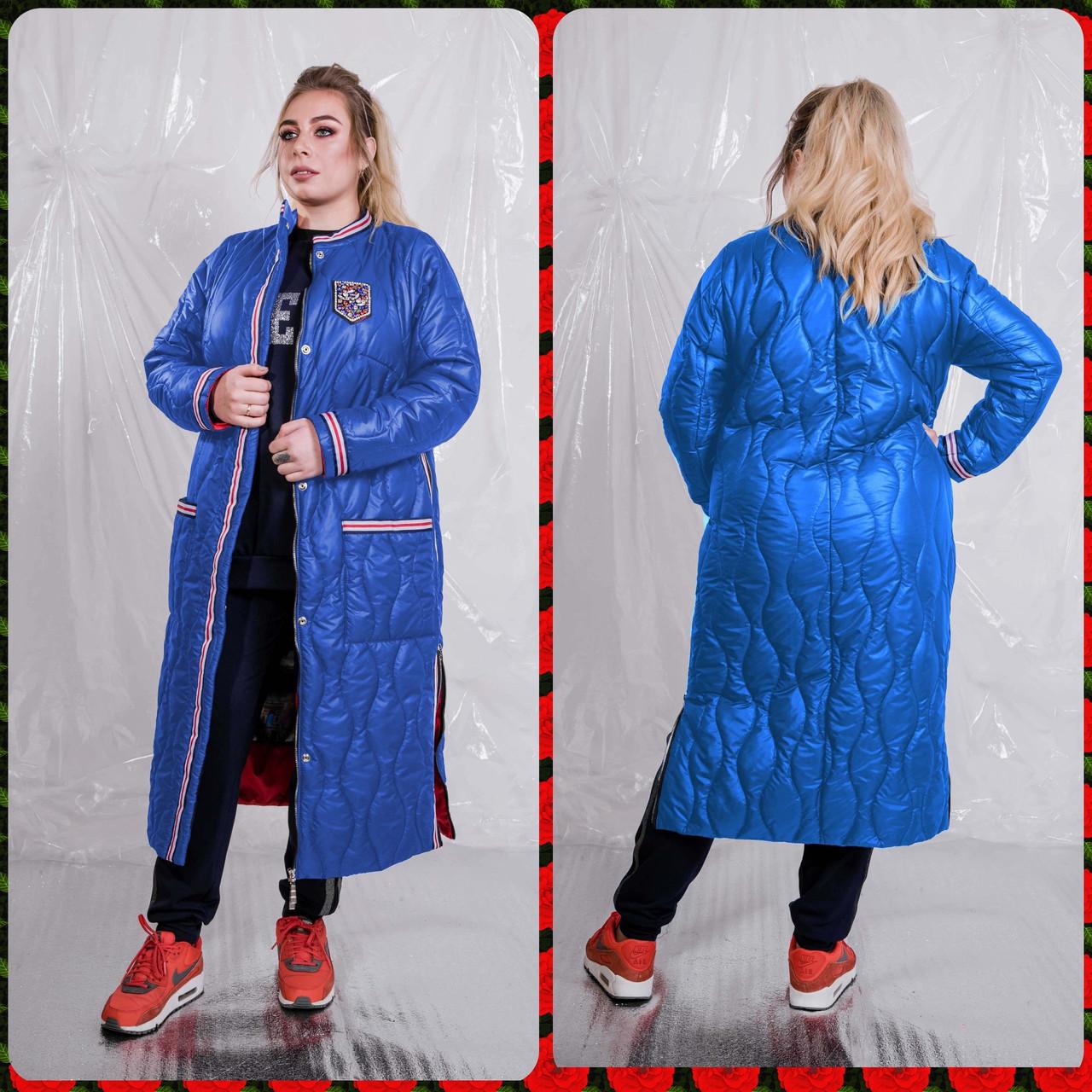 Женское плащевое демисезонное Пальто в больших размерах 10uk1451
