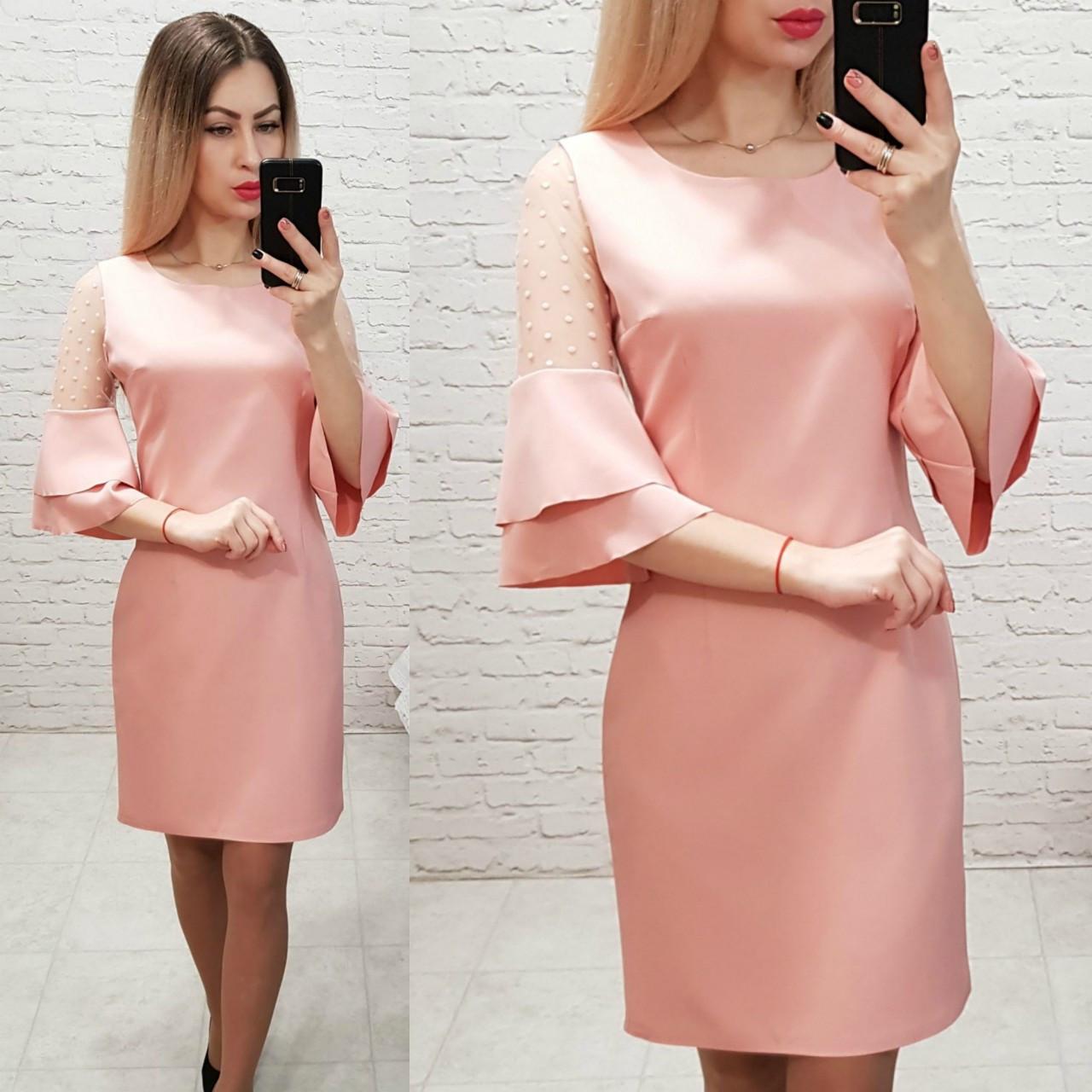 Платье женское, креп+сетка, модель 152, в 6-ти расцветках