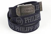 Ремень мужской унисекс джинсовый тканевый брэнд 40 мм темно-синий