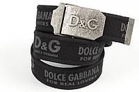 Ремень мужской унисекс джинсовый тканевый брэнд 40 мм черный, фото 1