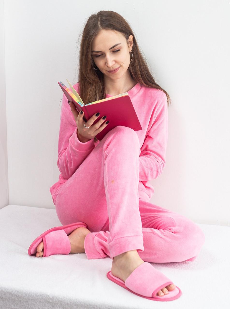 Велюровая пижама женская теплая кофта с брюками, комплект, розовая S.M.L