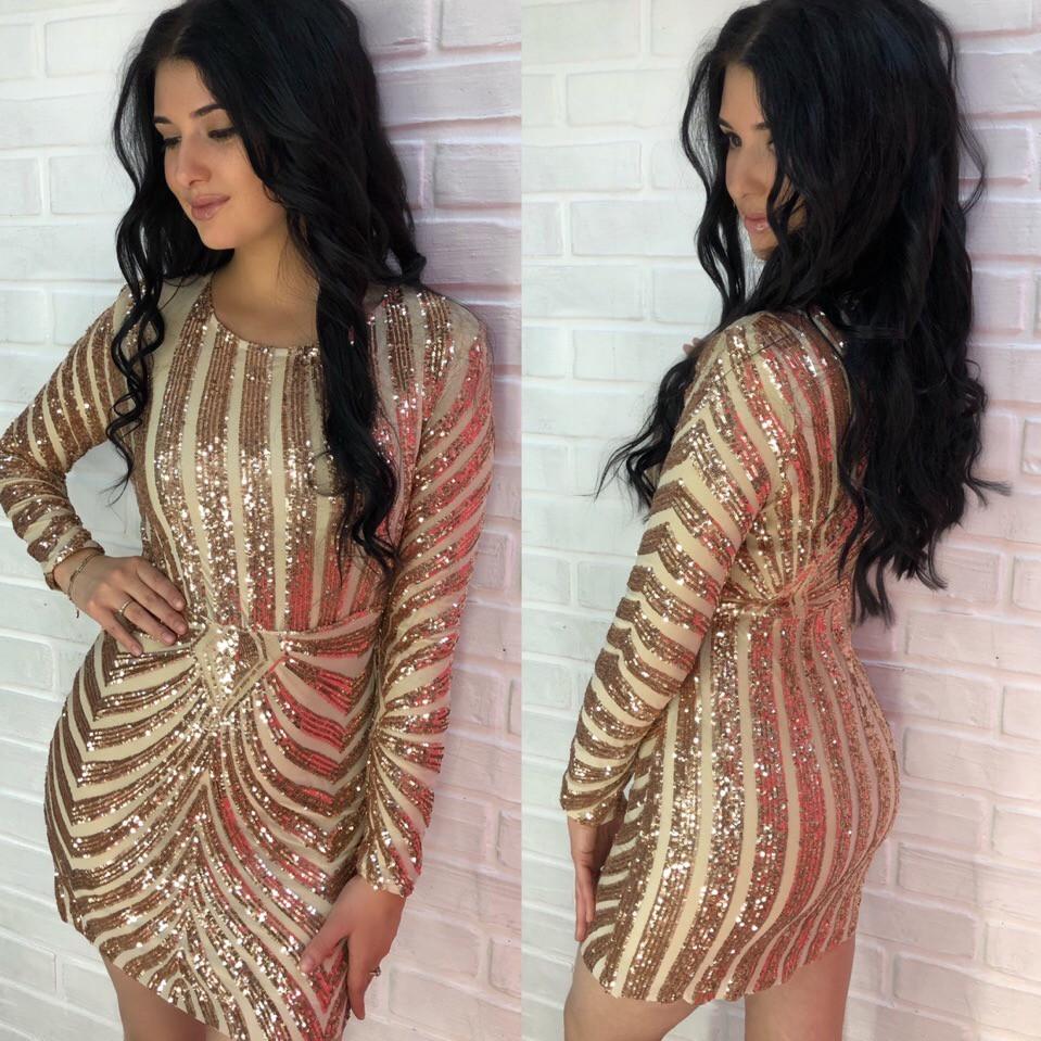 f08ba22c96e Шикарное золотое платье из стрейч сетки с вышивкой пайетками -  Интернет-магазин одежды и аксессуаров