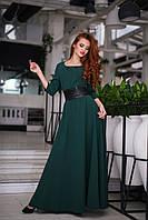 Платье в пол с кожаным поясом