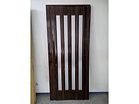 Двери гармошка остеклённые - орех 86х203,  Межкомнатные двери гармошка Пвх. Двери полуостеклененные.