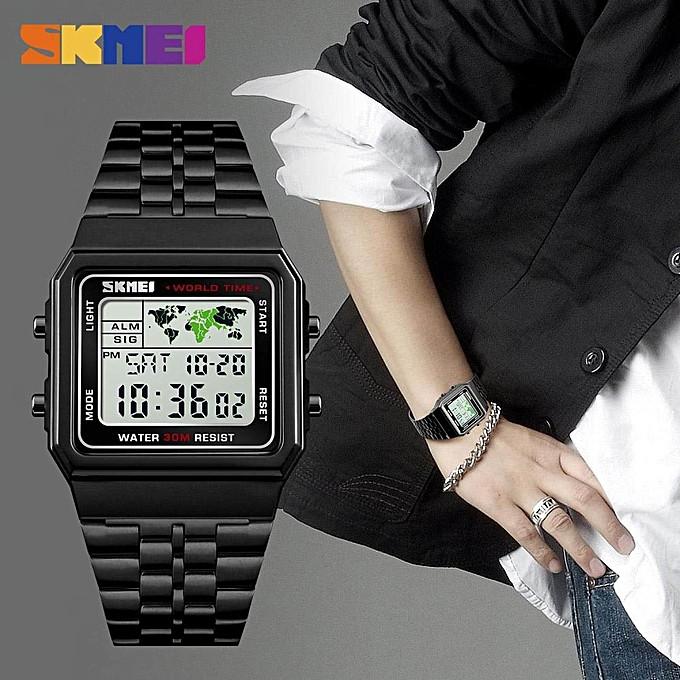 Skmei 1338 world   черные мужские   часы
