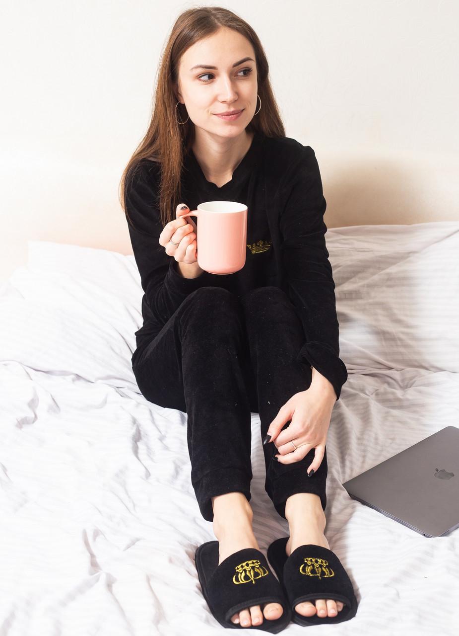 Велюровая пижама женская теплая кофта с брюками, комплект, черная S.M.L