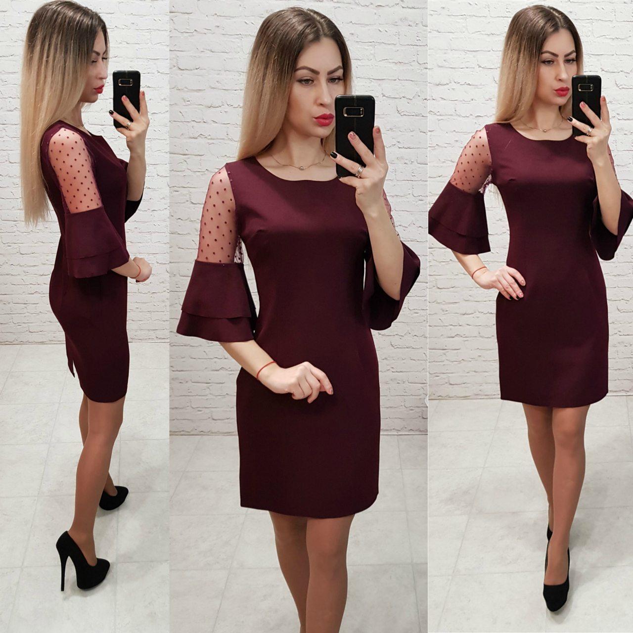 Платье женское, креп+сетка, модель 152, цвет - бордо