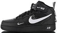 """Мужские кроссовки Nike Air Force 1 Mid 07 LV8 Utility """"Black"""" (высокие Найк Аир Форс) черные"""