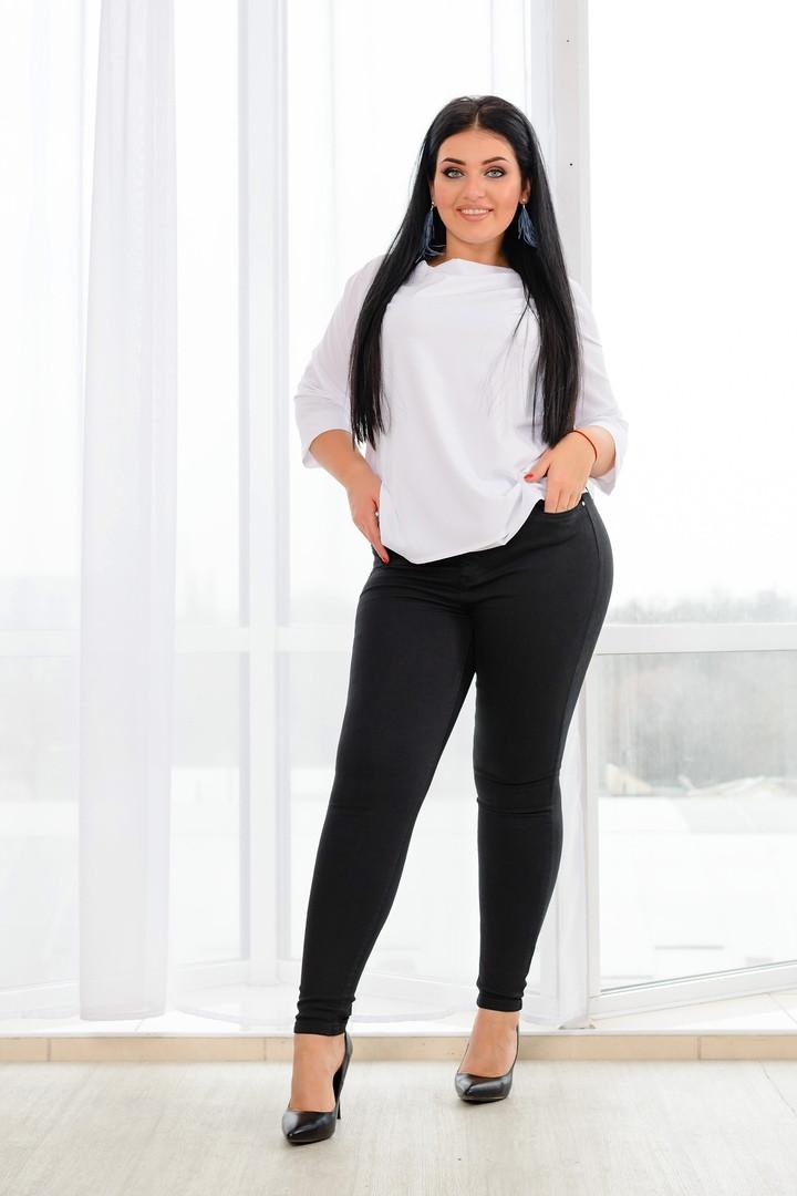 Женские облегающие черные джинсы 30-38разм.