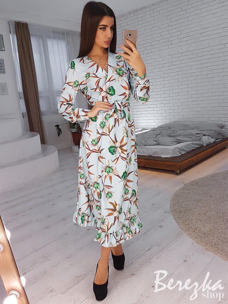 Принтованное платье миди на запах с оборкой 66plt2426