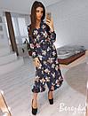 Принтованное платье миди на запах с оборкой 66plt2426, фото 2