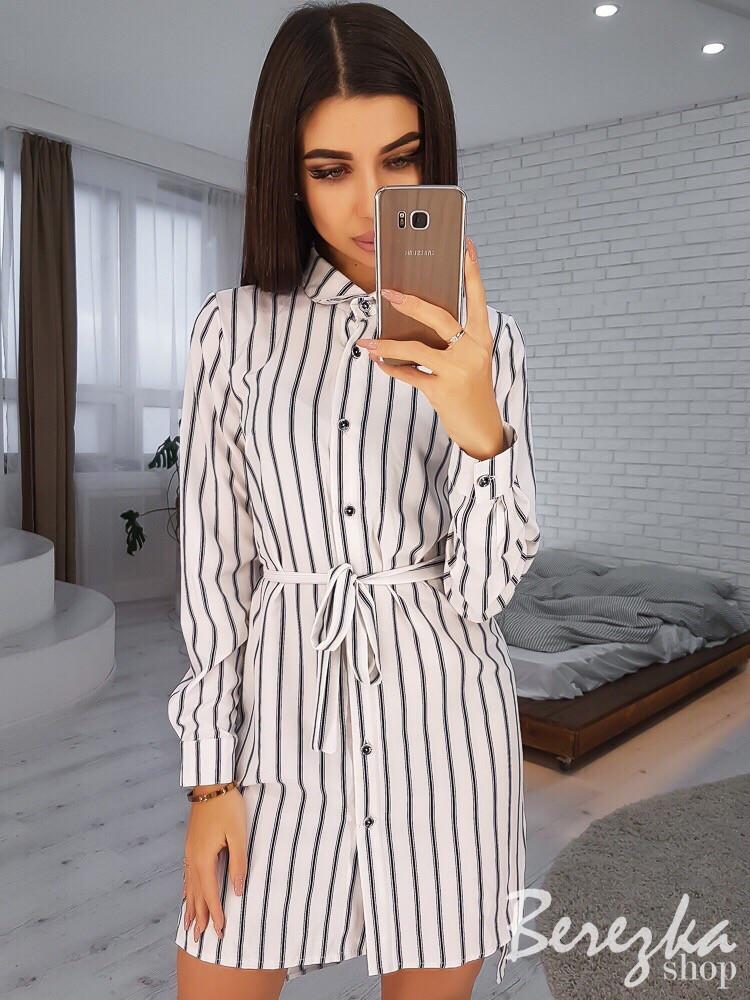 Платье-рубашка в полоску под пояс 66plt2427