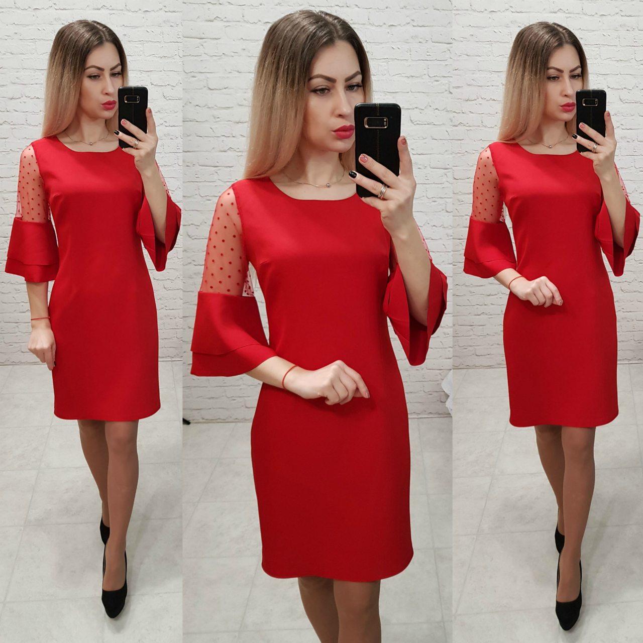 Платье женское, креп+сетка, модель 152, цвет - красный