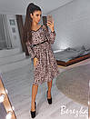 Леопардовое платье с разрезами на плечах на бретельках 66plt2432, фото 2