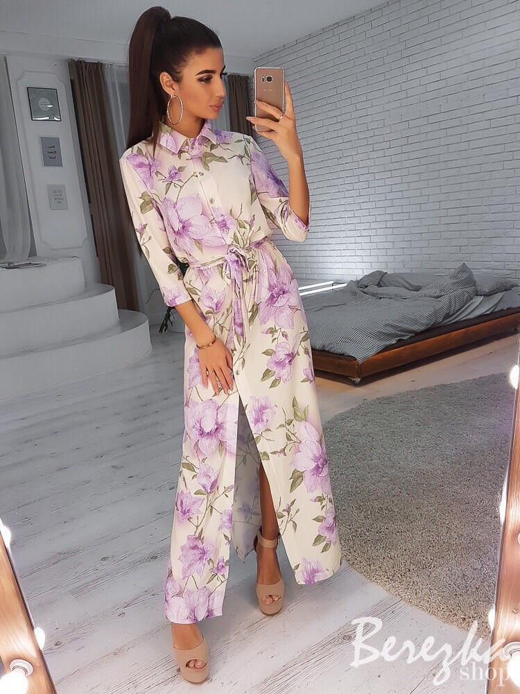 Длинное принтованное платье-рубашка с разрезами 66plt2433