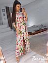 Длинное принтованное платье-рубашка с разрезами 66plt2433, фото 3