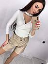 Женские кожаные шорты на высокой посадке 73jus181, фото 3