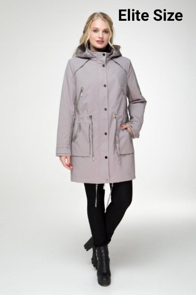 Женская куртка прямая с капюшоном в больших размерах 6blr1421