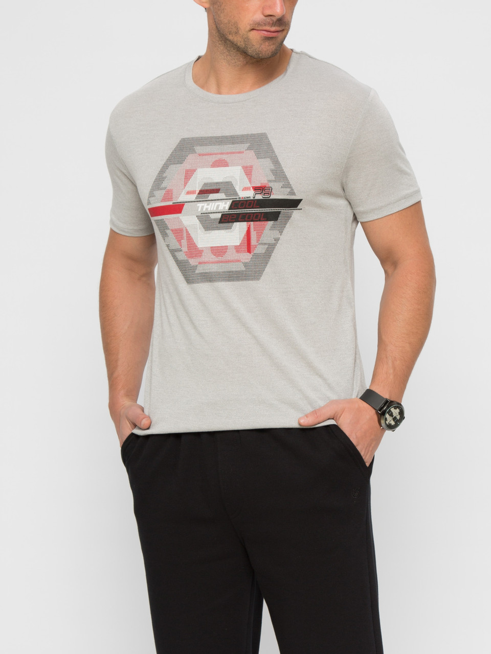 Серая мужская футболка Lc Waikiki / Лс Вайкики с надписью Think cool be cool
