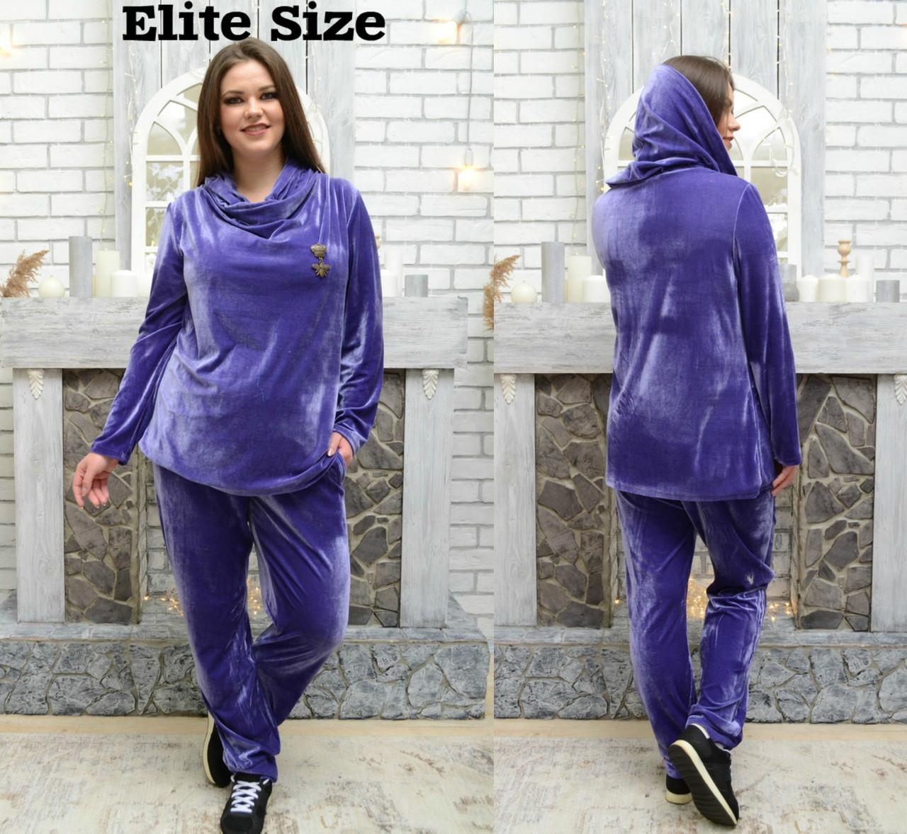 Женский велюровый спортивный костюм в больших размерах 6blr1427