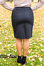 Женская юбка-карандаш с молниями в батале 6blr1430, фото 2