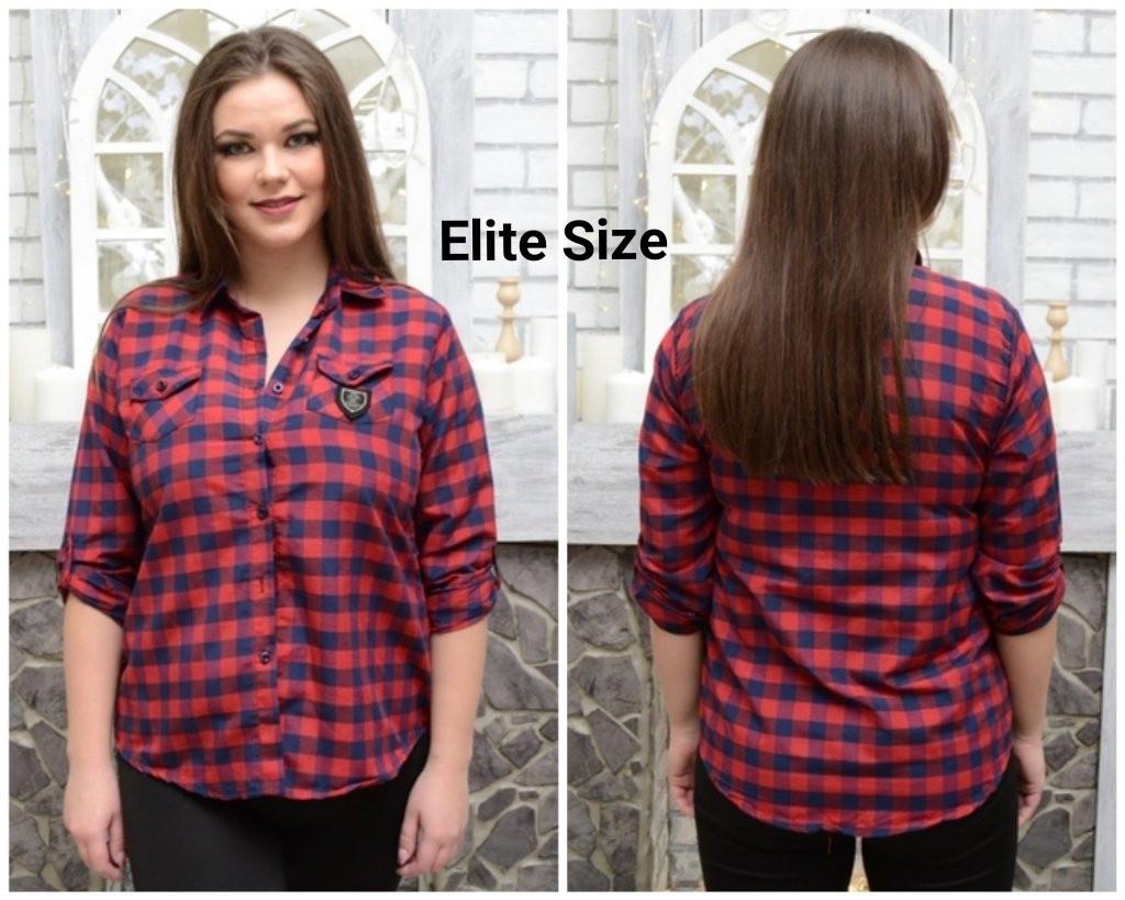 Женская хлопковая рубашка в клетку в больших размерах 6blr1433