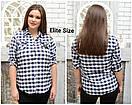 Женская хлопковая рубашка в клетку в больших размерах 6blr1433, фото 2
