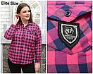 Женская хлопковая рубашка в клетку в больших размерах 6blr1433, фото 3