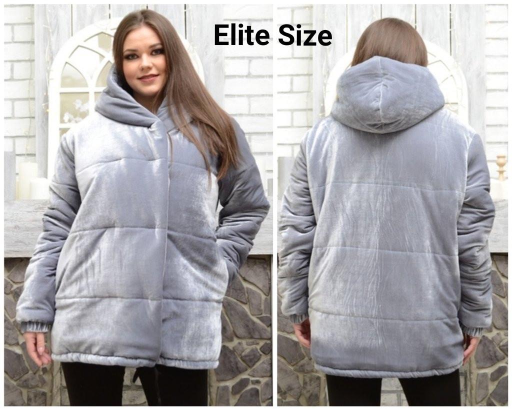 Женская велюровая объемная куртка в больших размерах 6blr1446