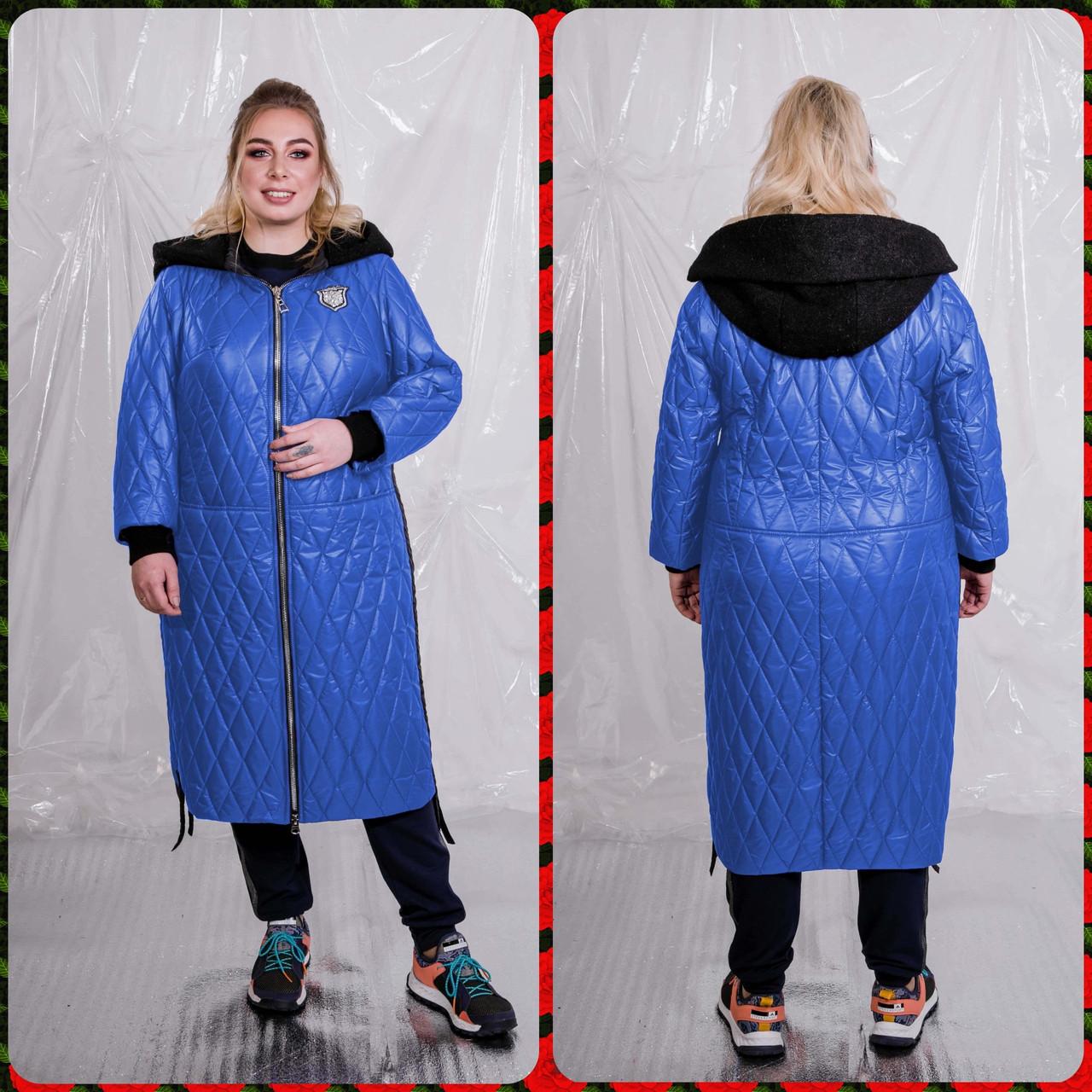 Женское стеганное плащевое Пальто в больших размерах 10blr1452