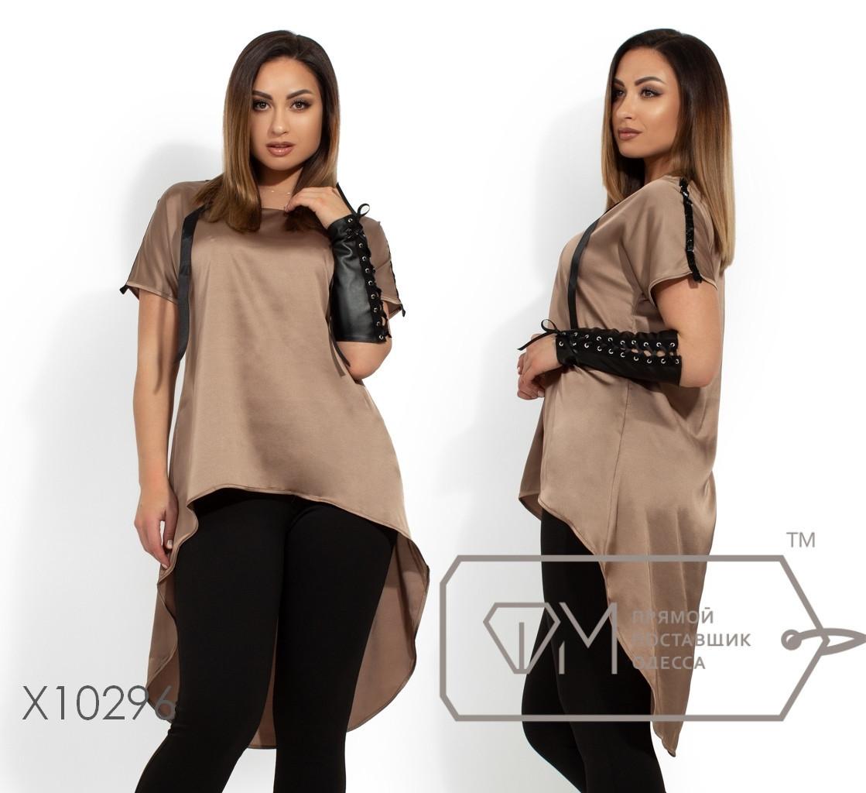 Шелковая женская асимметричная блуза в больших размерах 1blr1462