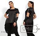 Шелковая женская асимметричная блуза в больших размерах 1blr1462, фото 2