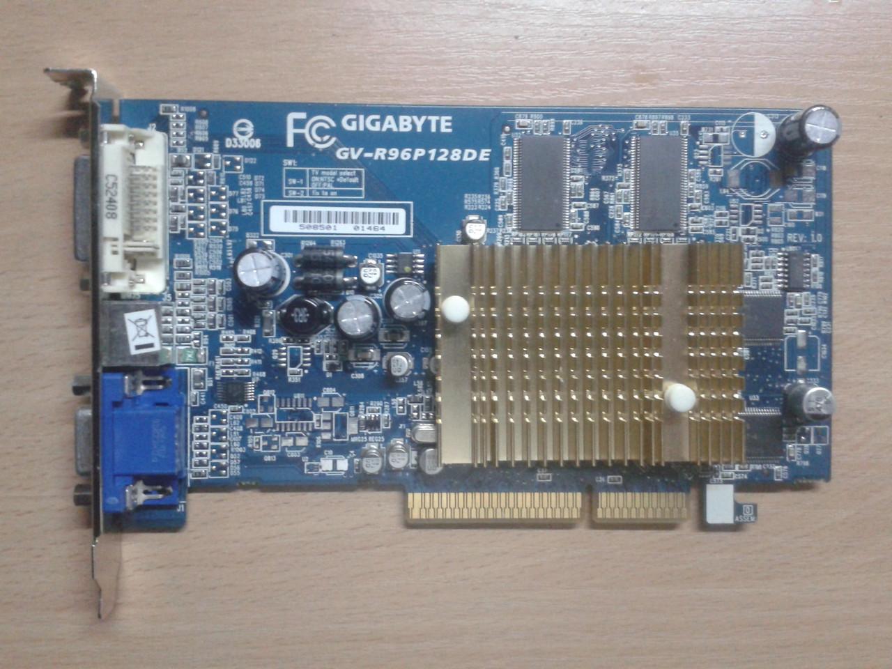 Видеокарта GigaByte ATI RADEON 9600 PRO, 128Mb/DDR/128Bit, GV-R96P128DE, AGP, бу