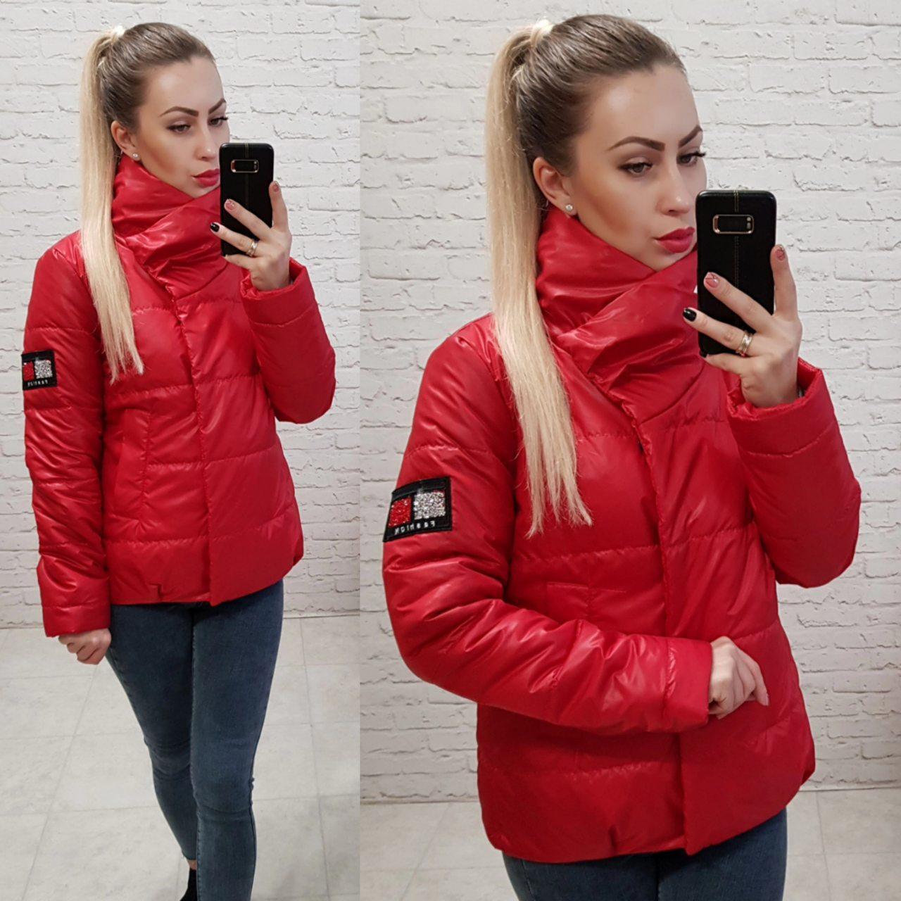 Куртка кокон короткая свободного кроя арт. 1004 красная