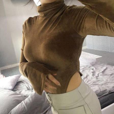 Боди мягкий вельвет горчичного цвета на длинный рукав-170-06, фото 2