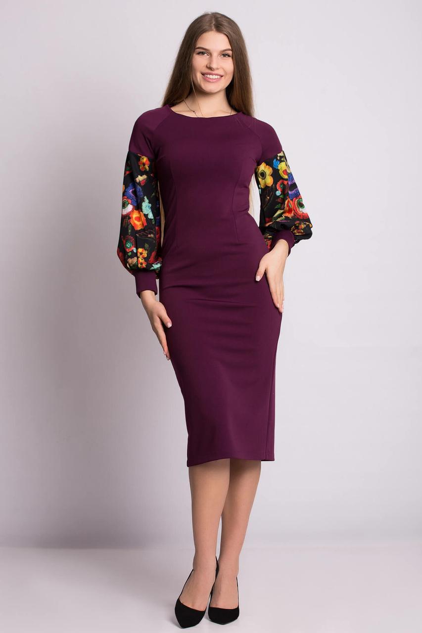 f48d5cdc1a858d2 Облегающее платье-футляр SAMANTHA с рукавами-фонариками в цветочный принт