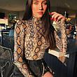 """Боди """"змеиный принт"""" на длинный рукав- 170-05, фото 3"""